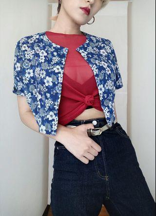 古著 微透膚 復古藍色碎花開襟短版外罩