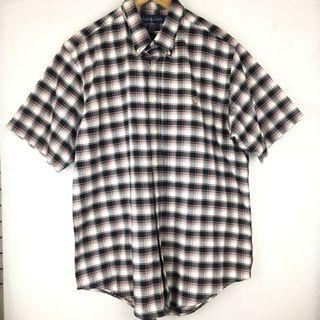 Polo ralph lauren 格紋短袖襯衫 男 XL 古著