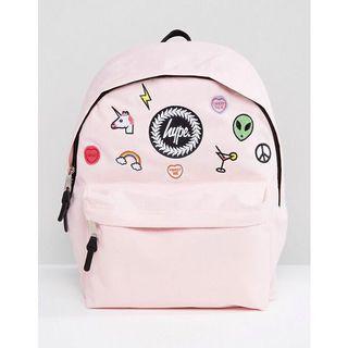 HYPE韓版粉色補丁繡花獨角獸後背包