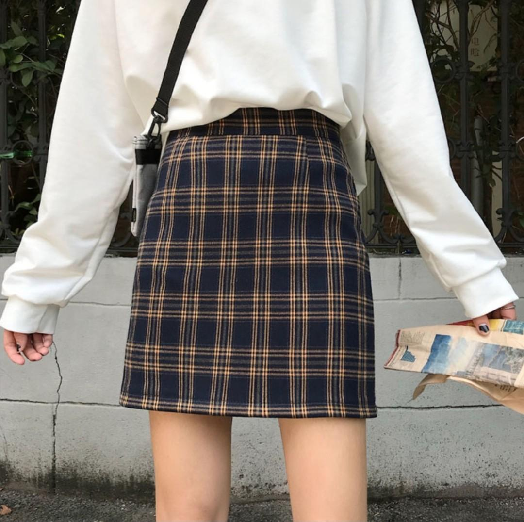 [INSTOCKS] [2 COL] UZZLANG CHECKERED SKIRT