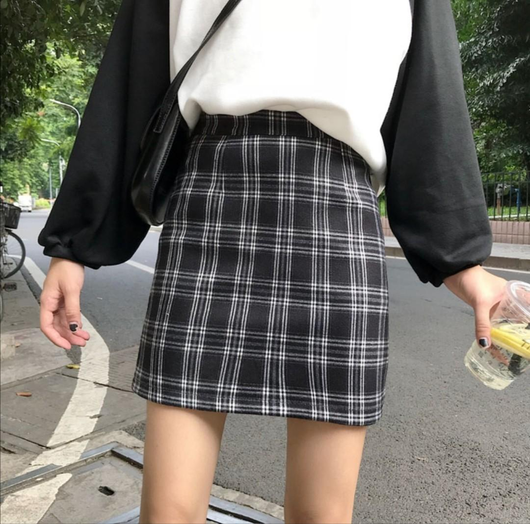 [2 COL] UZZLANG CHECKERED SKIRT