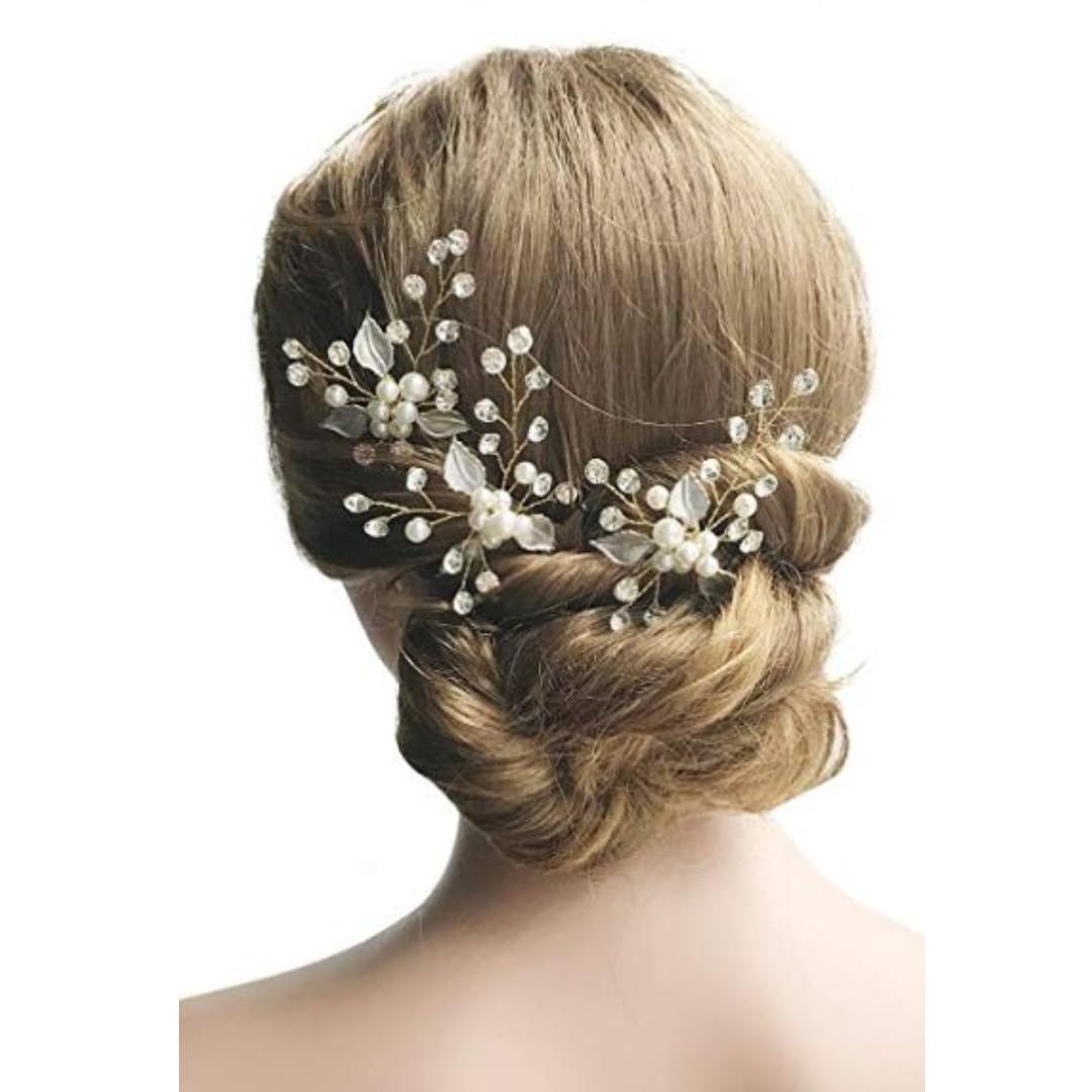 3 pcs Wedding Bridal Crystal Hair Pins Headpiece Evening Hair