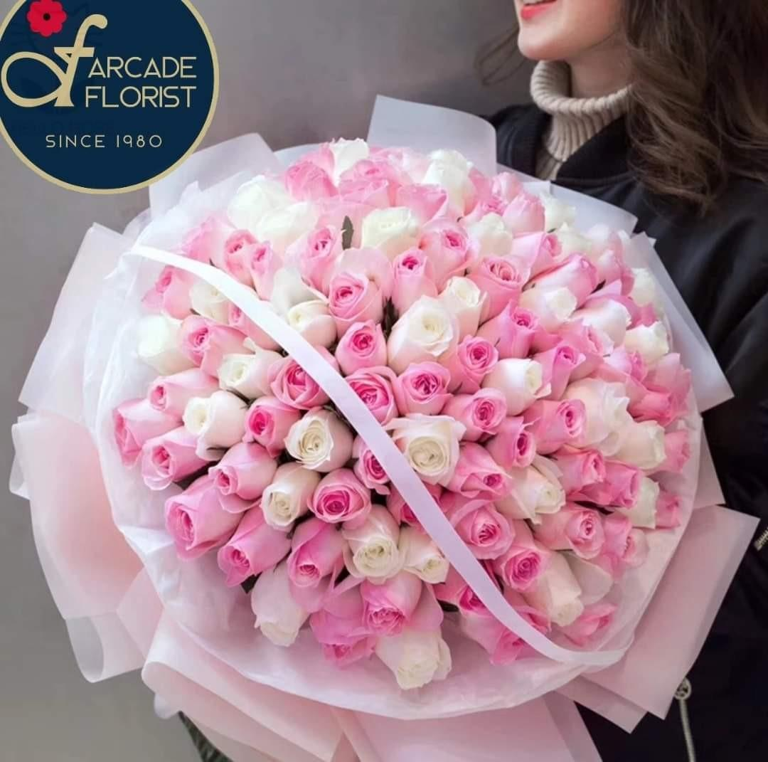 "99 Stalks Fresh-Cut mixed ""Pink & White""  Roses🌹(Fresh Flower Bouquet💐) 