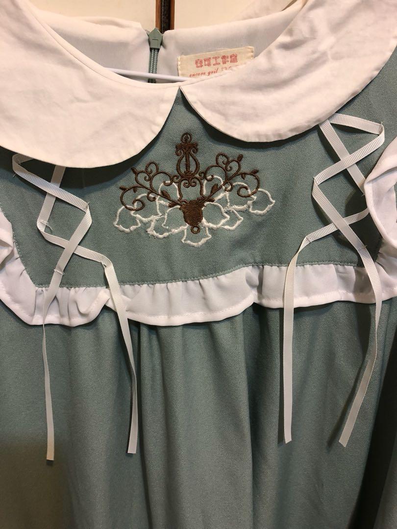 日系軟妹娃娃刺繡長袖洋裝