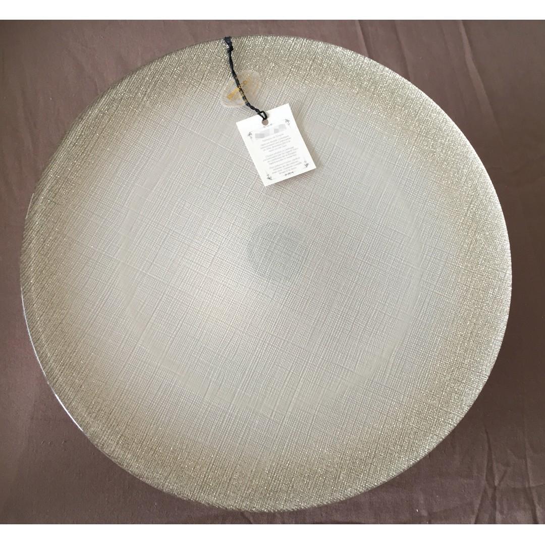 """>> NEW!!! Glitter Appetizer Plate Pedestal Dessert Stand 12 1/2"""""""