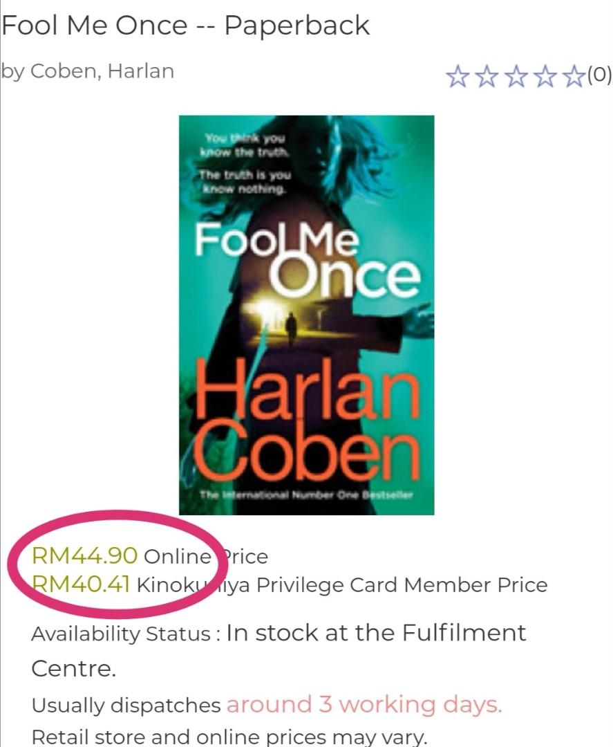 # Novel《BRAN-NEW PAPERBACK + Mystery & Suspense Thriller Fiction》Harlan Coben - FOOL ME ONCE : You Think You Know The Truth. The Truth Is You Know Nothing