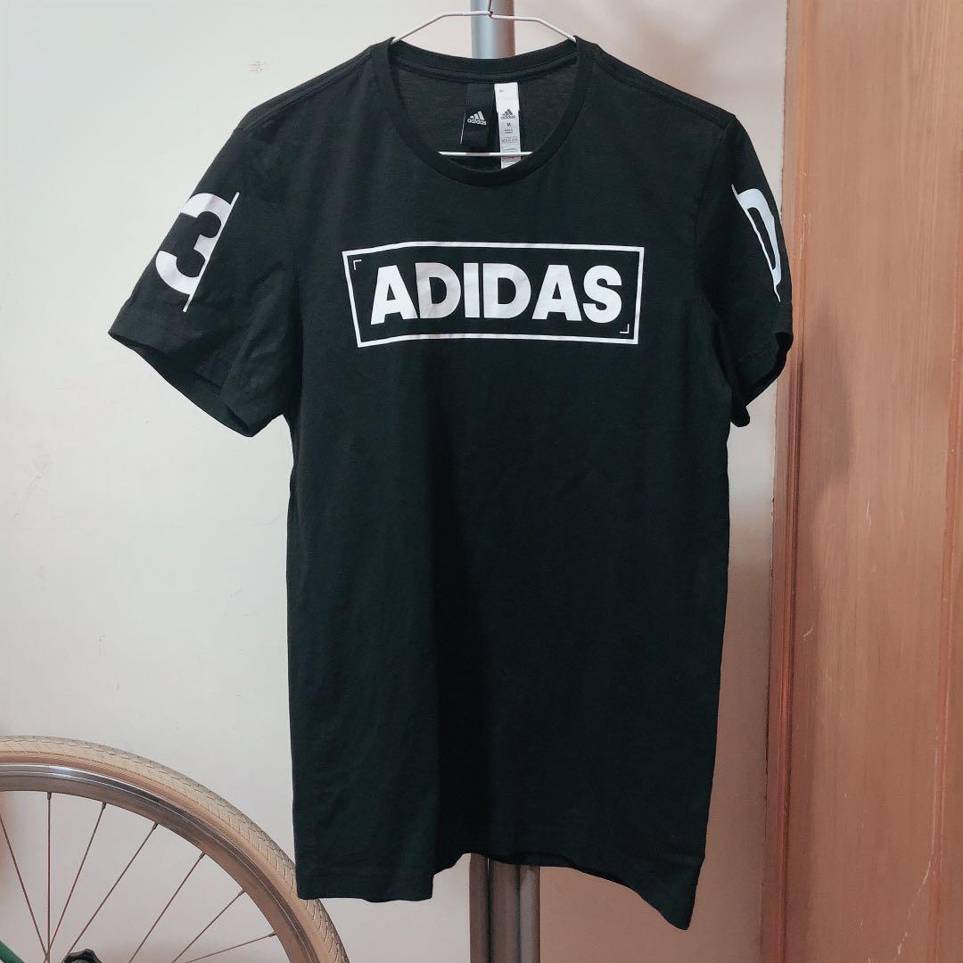 Adidas logo 黑色 窄版 T恤