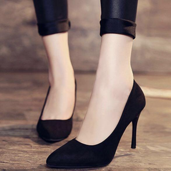 Black covered heels pumps