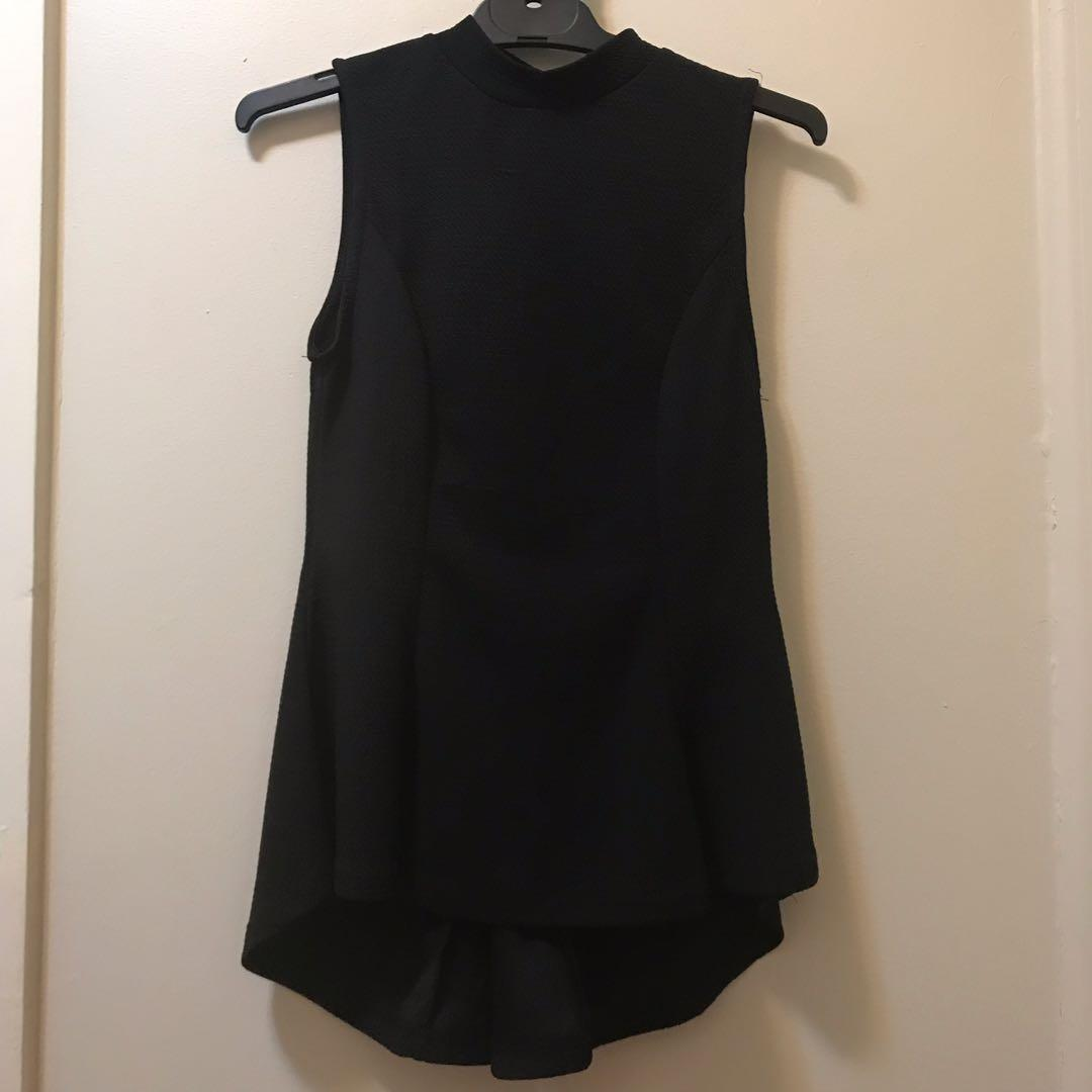 Black sleeveless high low peplum too with back keyhole