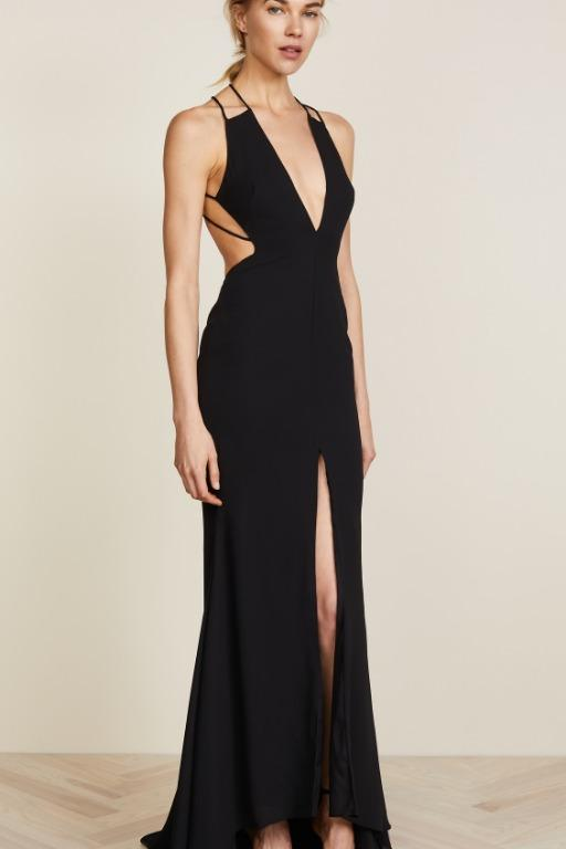 BNWT FAME & PARTNERS BLACK SURREAL DREAMER GOWN - SIZE 8 AU/4 US (RRP $289)