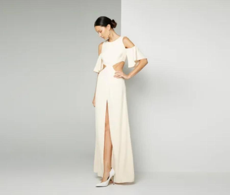 BNWT FAME & PARTNERS CHAMPAGNE HARBOUR SIDE DRESS - SIZE 8 AU (RRP $317)