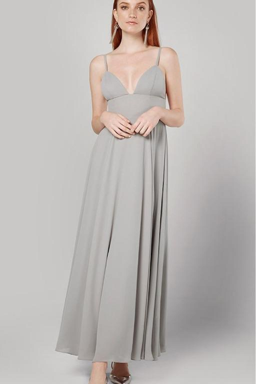 BNWT FAME & PARTNERS GREY STRAPPY TRICUP FORMAL GOWN - SIZE 8 AU/4 US (RRP $439)