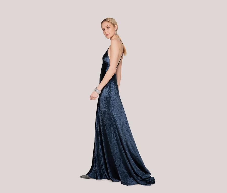 BNWT FAME & PARTNERS NAVY METALLIC LYRA DRESS - SIZE 8 AU/4 US (RRP $289)