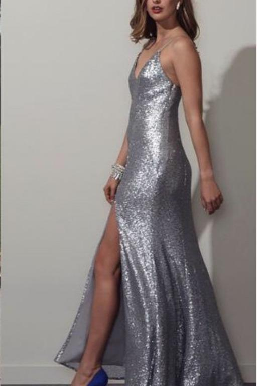 BNWT FAME & PARTNERS SILVER IRIS FORMAL DRESS - SIZE 8 AU/4 US (RRP $359)
