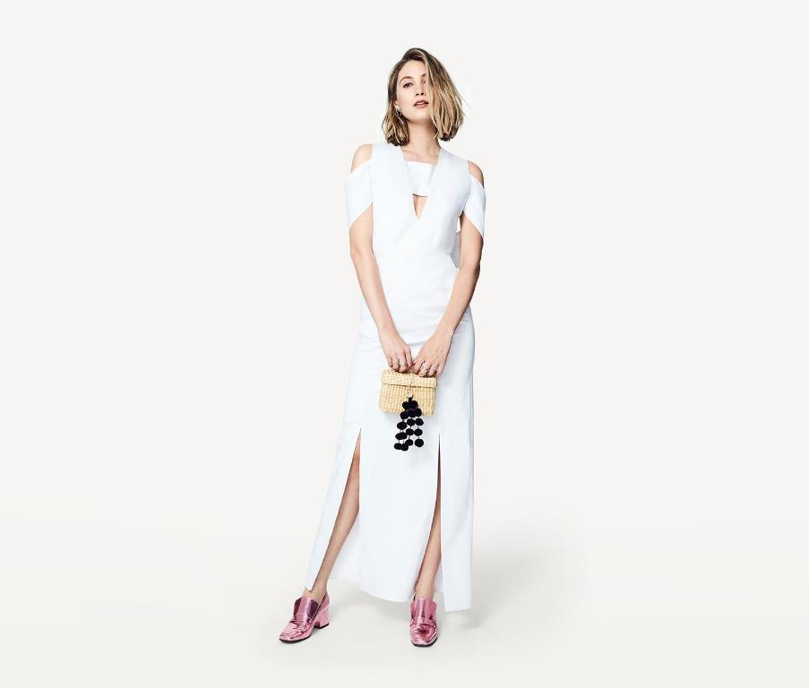 BNWT FAME & PARTNERS WHITE GEORGIA DRESS - SIZE 8 AU (RRP $389)