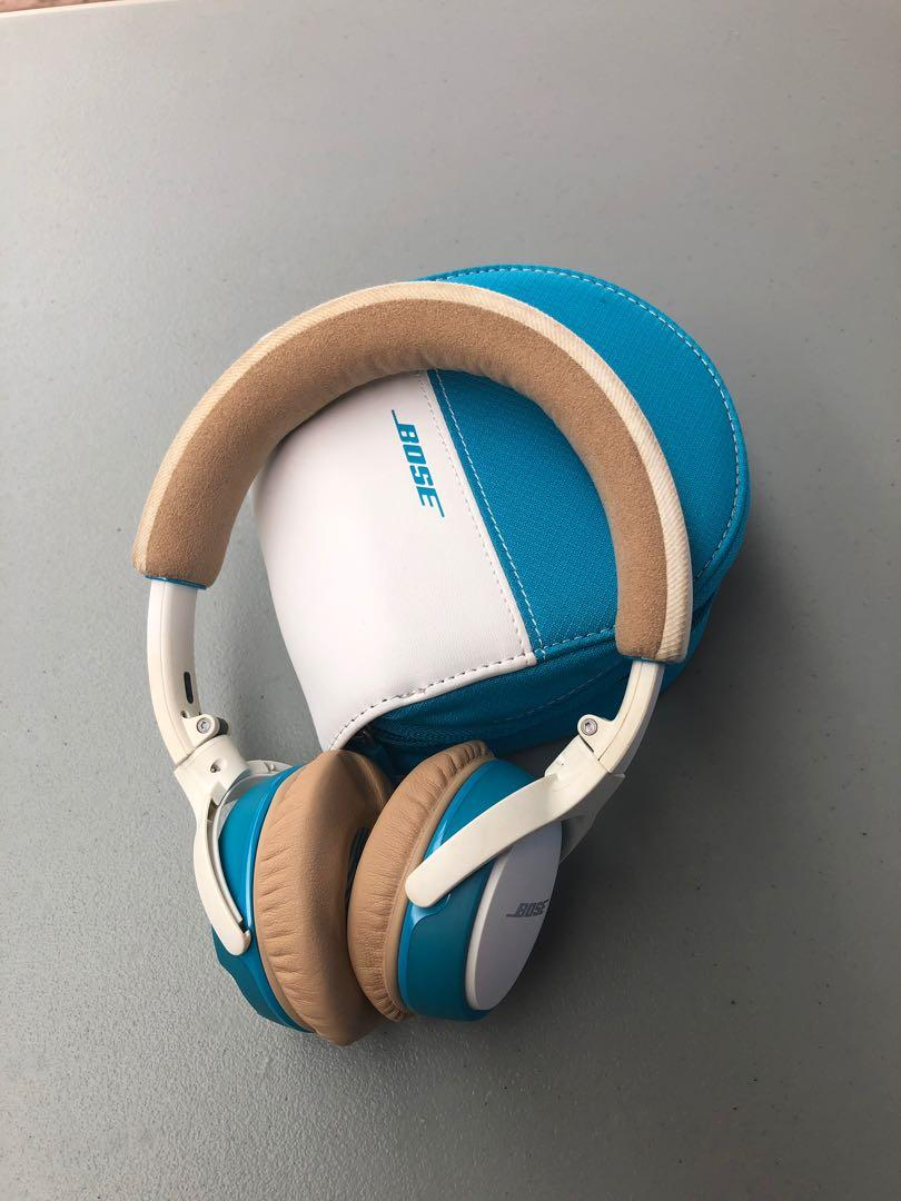 Bose Soundlink Bluetooth Wireless Headphones (White/Blue)