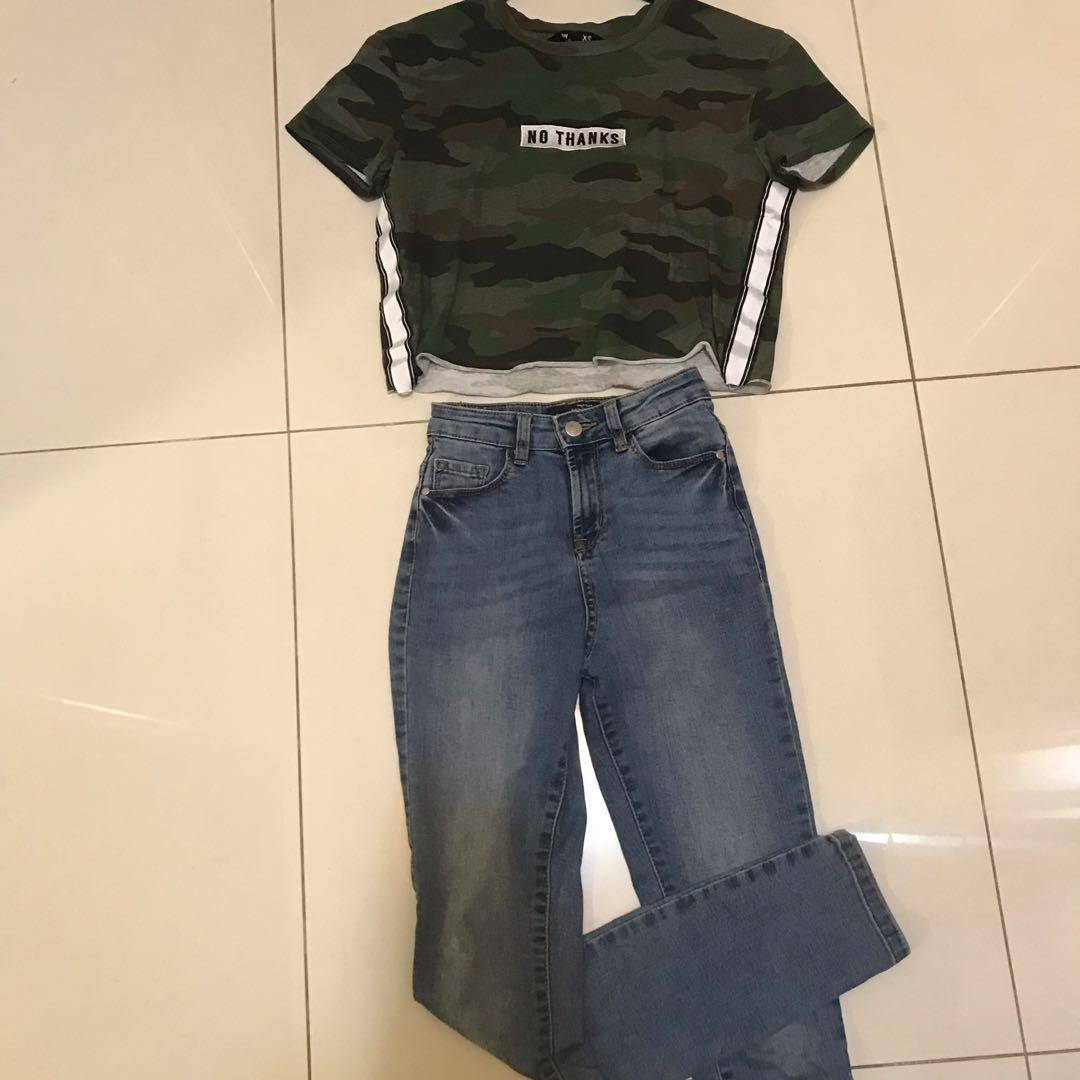 Camo embroidered No Thanks crop top and high waisted blue skinny jeans