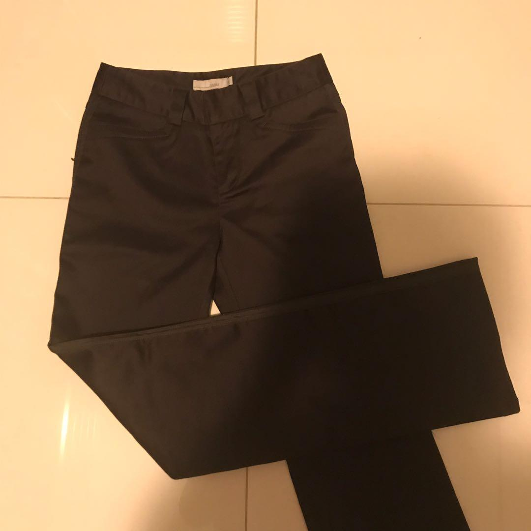 Dark brown thick work pants with wide straight leg