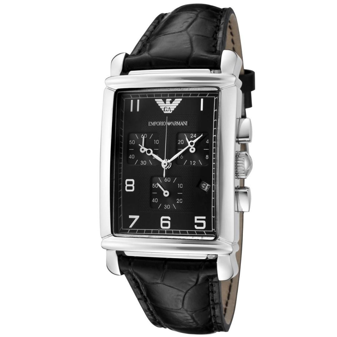 Emporio Armani Men's Black Dial Black Leather, Watch