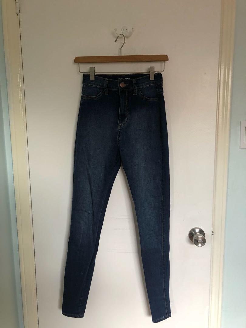 Fashion Nova Luxe High Waisted Skinny Jeans - Dark