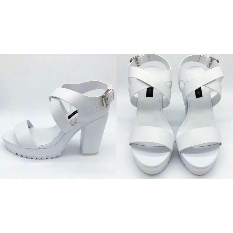 Forever New 'Camilla white strap heels' - EUR39/AU8.5
