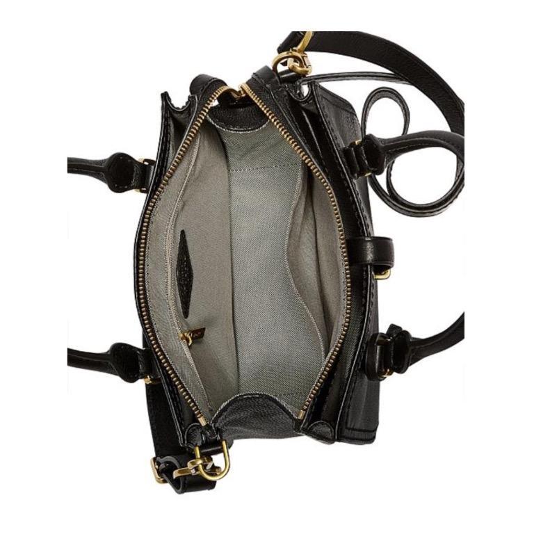 FOSSIL RYDER MINI SATCHEL BLACK LEATHER BAG RRP$329