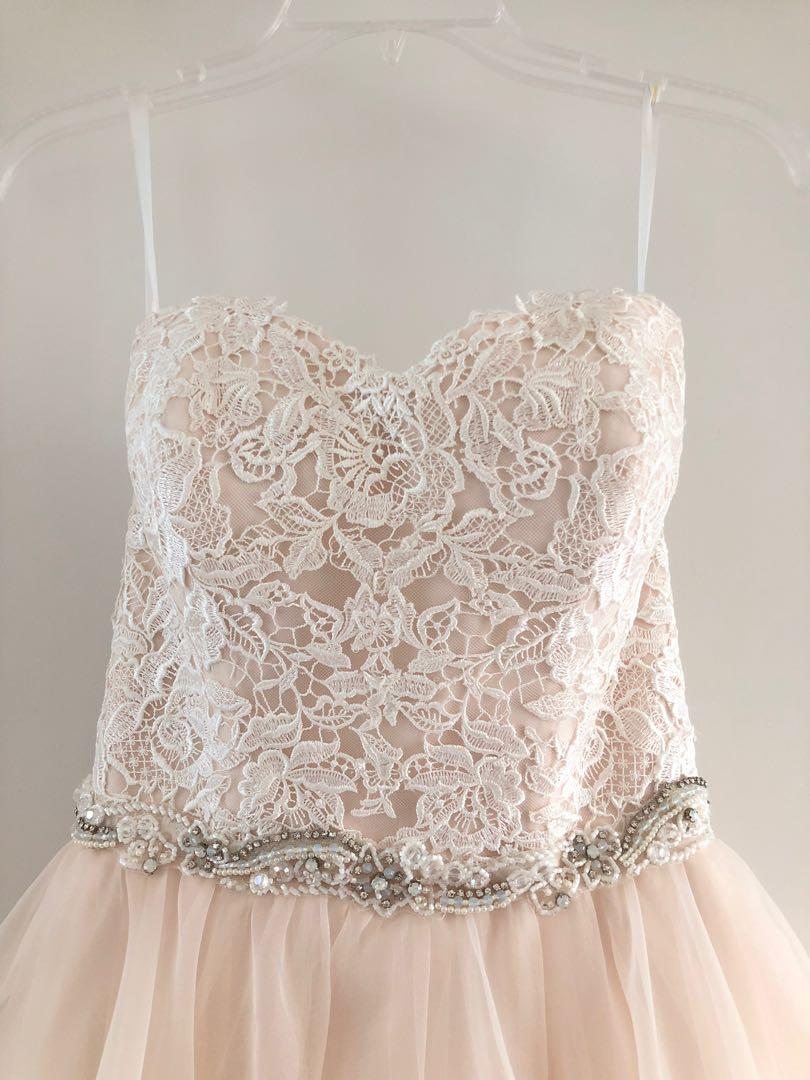 Gorgeous Ivory/Champagne Wedding Dress (plus matching veil + shoes!)