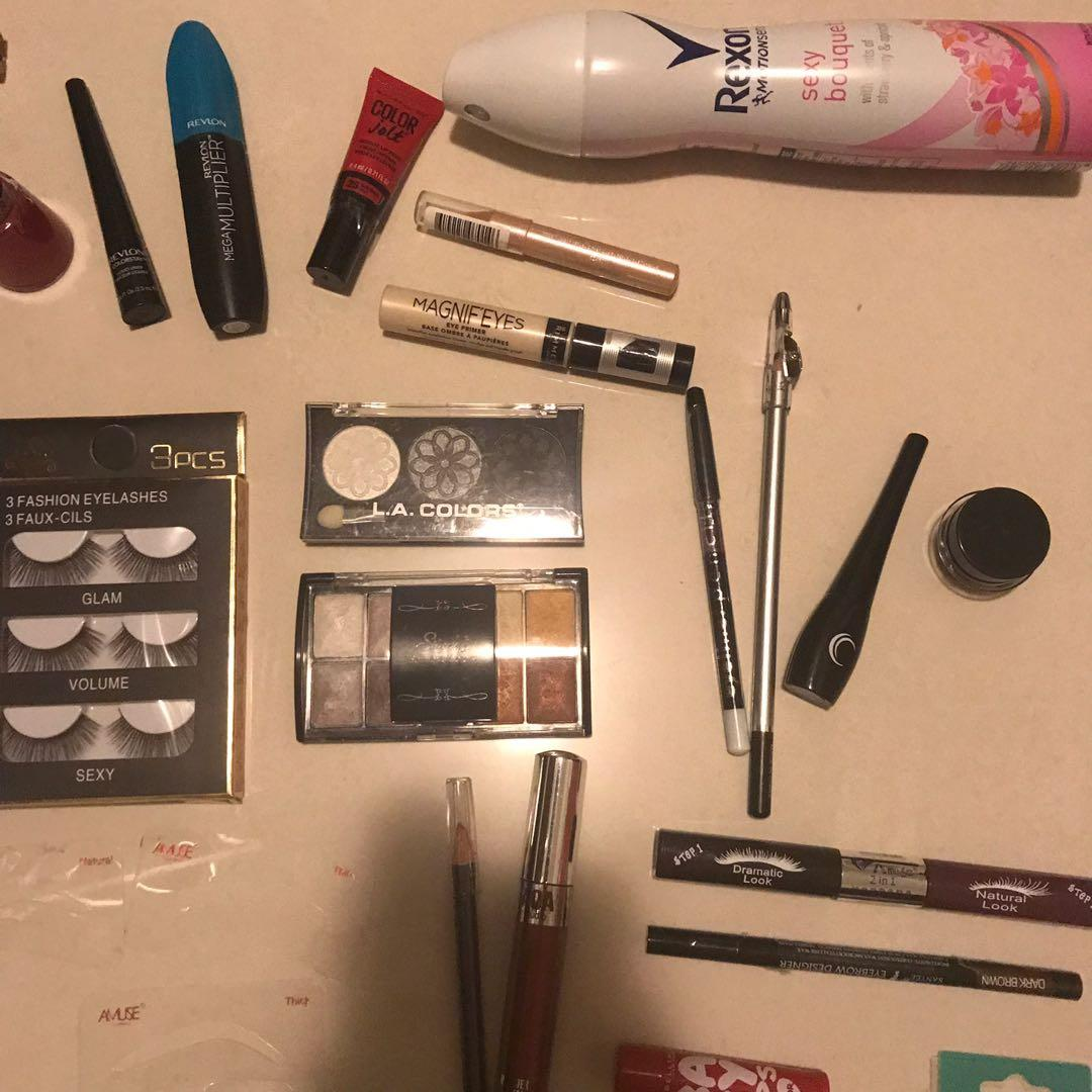 Lashes, mascara, lip lacquer, setting spray primer, eyeshadow, contour, eyeliner, tweezers, eyebrow stencils and more