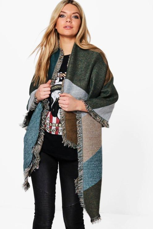 Lena Colour Block Oversized Blanket Scarf Green Blue Gray Grey Boohoo Winter