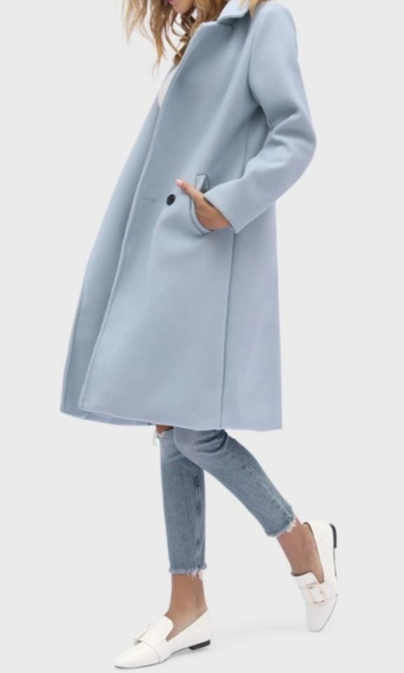 Light blue lapel collar long coat
