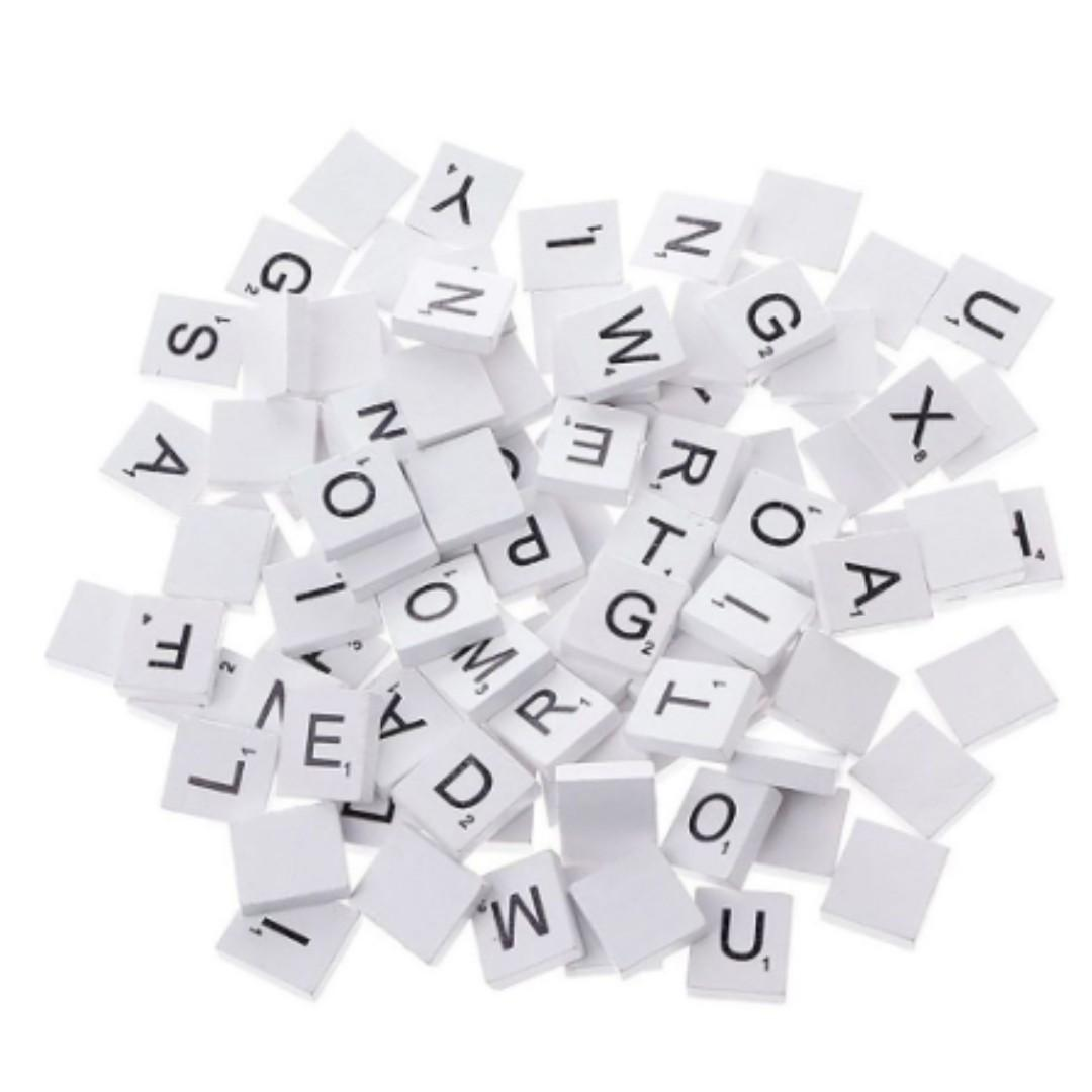 NEW 100 Pcs Numbers Wood Black Wooden Tiles Scrabble Alphabets