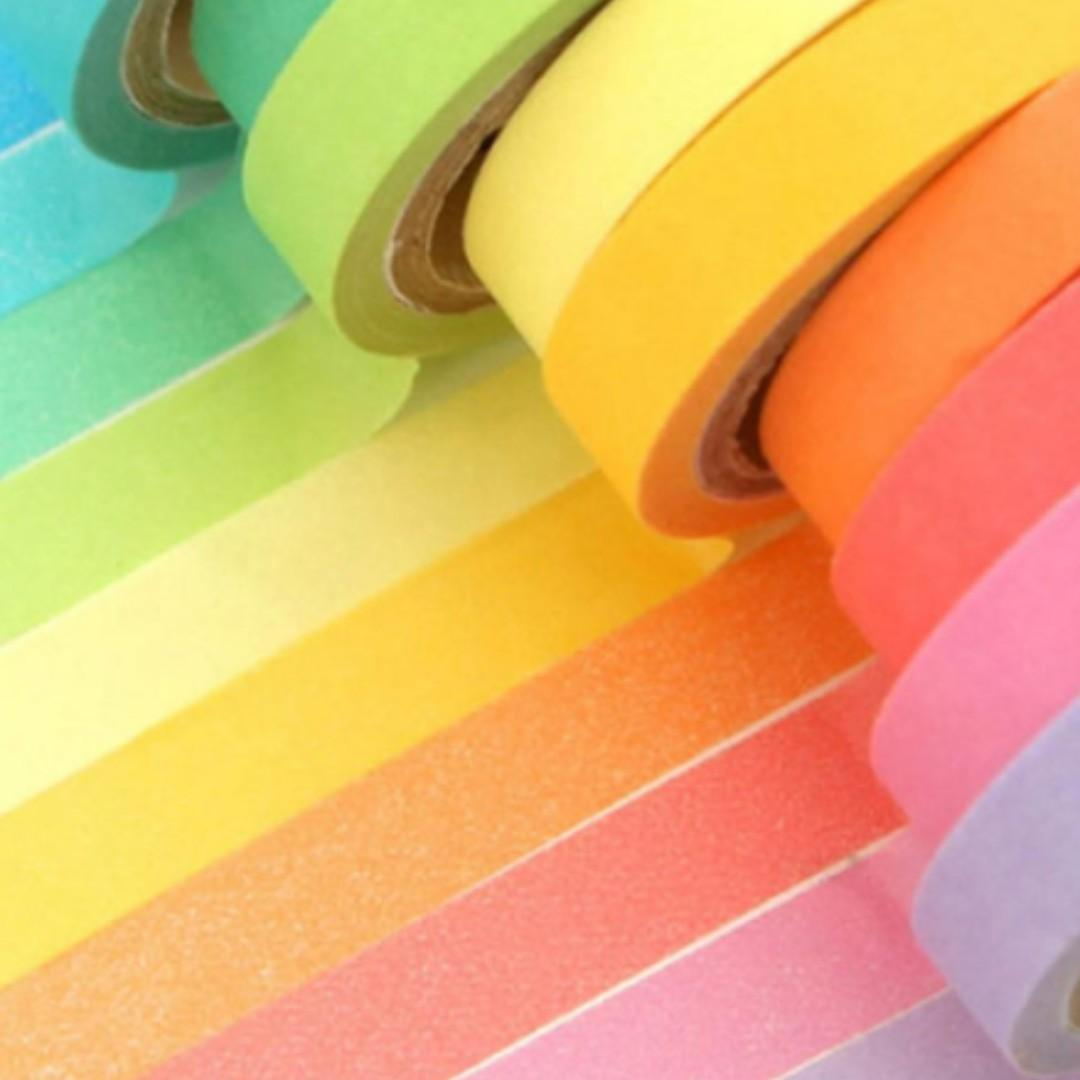 NEW 1Box (10 Pcs) Candy Color DIY Scrapbooking Sticker paper Tape
