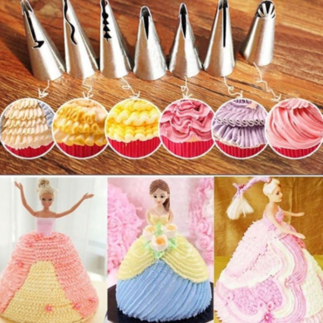 NEW 7pcs/set Cake Mould Wedding Piping Tips Cake Nozzle Skirt Pastry Tools