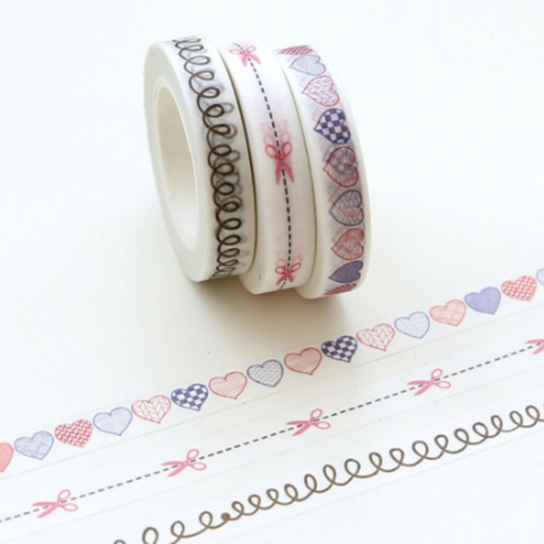 NEW Decoration Scrapbooking Split Line Heart Sticker Washi Masking Tape