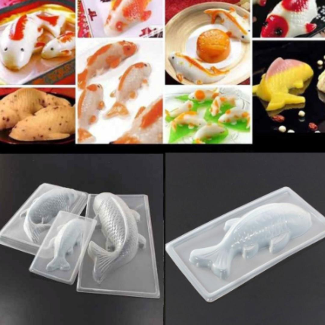 NEW Plastic Cyprinoid Kitchen Tool Fish 3D Sugarcraft Cake Mold Jelly Mould