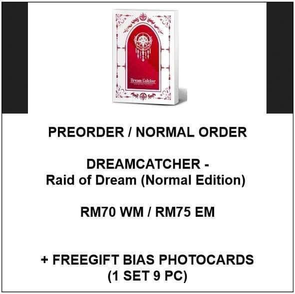 (Normal Edition) DREAMCATCHER - Raid of Dream  - PREORDER/NORMAL ORDER/GROUP ORDER/GO + FREE GIFT BIAS PHOTOCARDS (1 ALBUM GET 1 SET PC, 1 SET GET 9 PC)