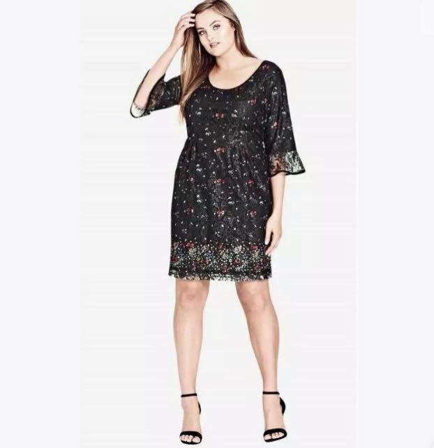 NWT City Chic Floral Dress sz 16 22 Small XL Black Floral
