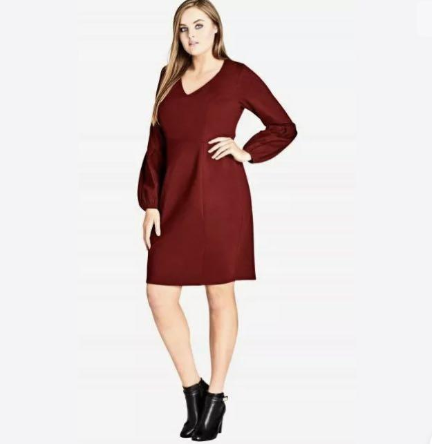 NWT City Chic Red Ruby Puff Sleeves Dress sz 16 Small