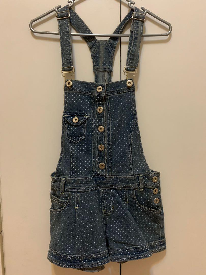 Overalls / dungarees / playsuit - polkadot denim - size 6 / size 8