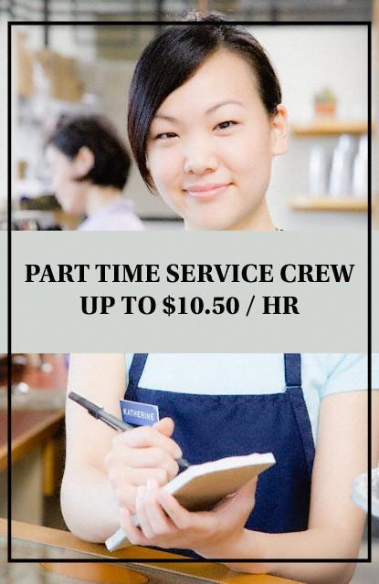 PART TIME SERVICE CREW UP TO $10.50/HR