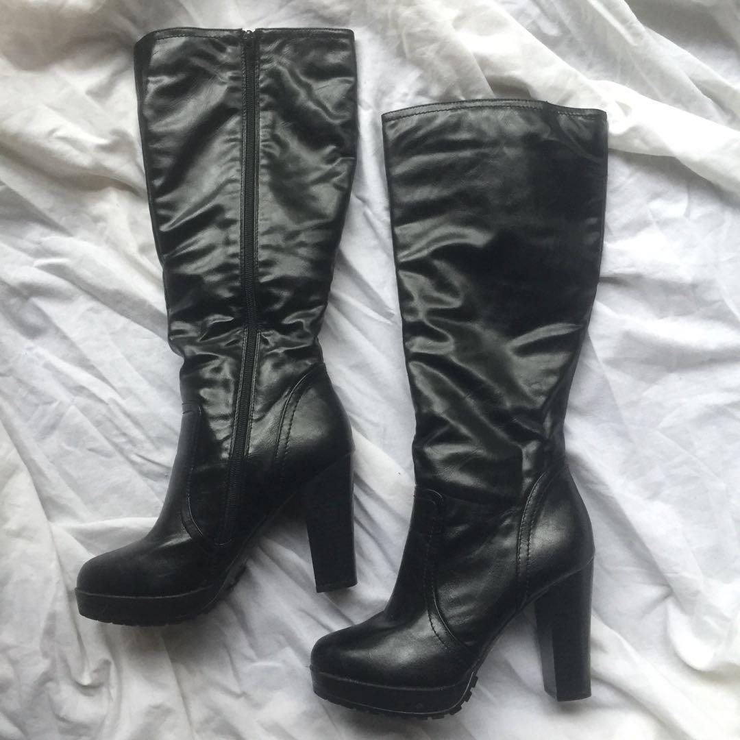 Patent black faux leather knee high platform heel boots