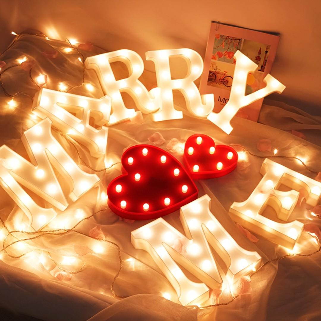 "Remote control ""MARRY ME"" LED letter light for wedding proposal decoration"