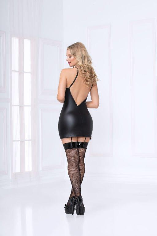 SEVEN TIL MIDNIGHT Black Leather Look & Lace Up Chemise & Thong Large (10-12)