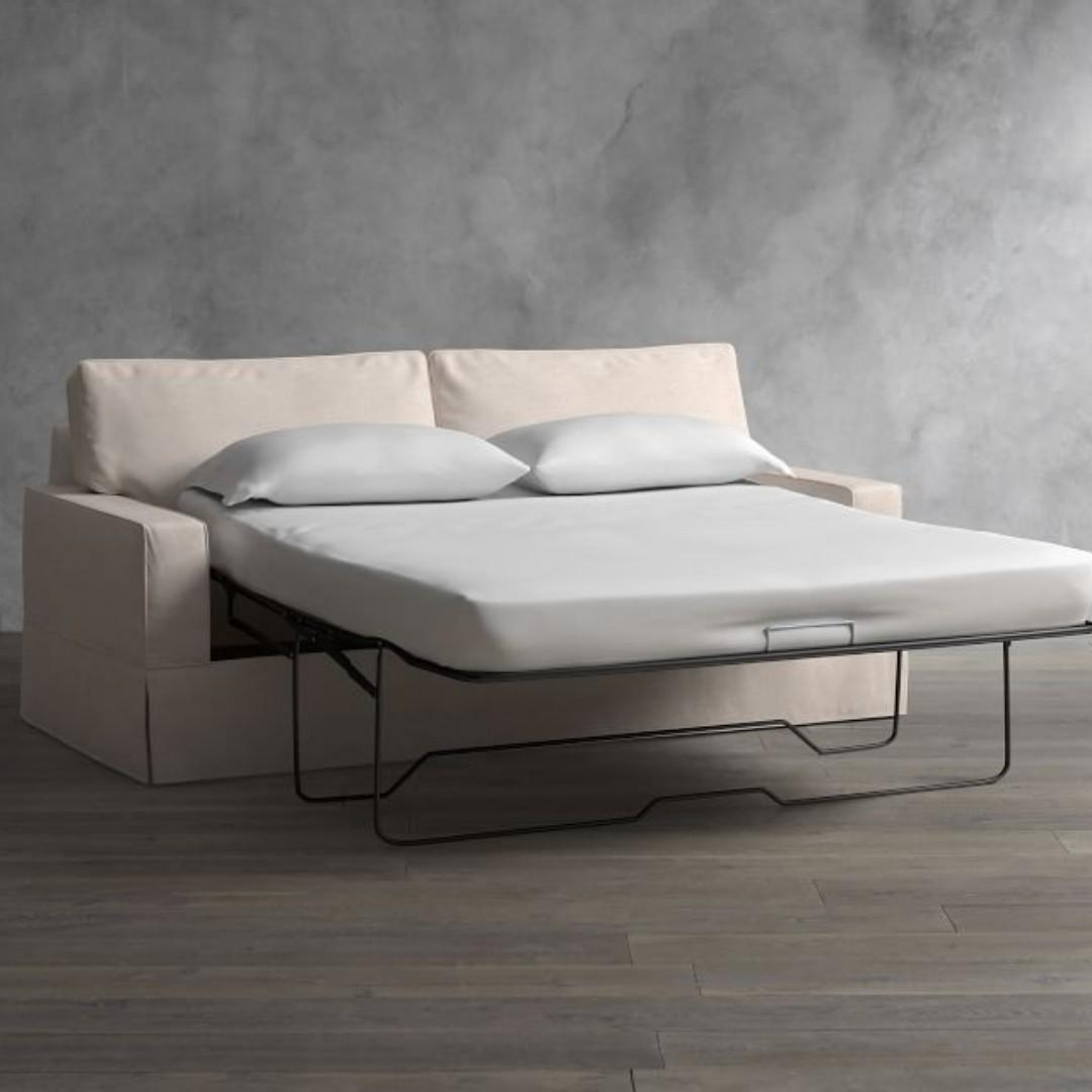 Slipcovered Sleeper Sofa With Memory