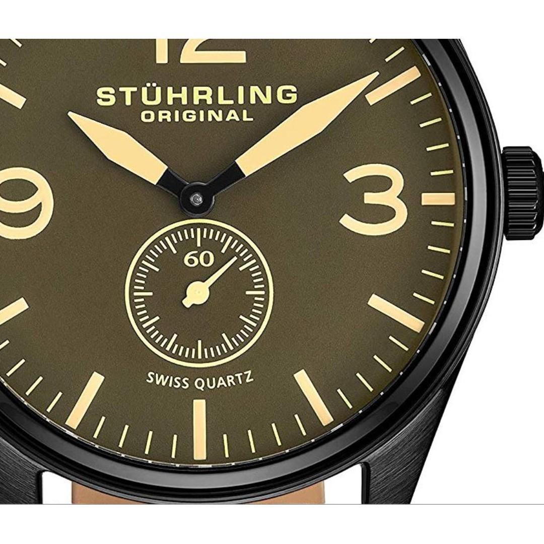 Stuhrling Original Men's Aviator Swiss Quartz Blk Leather Strap