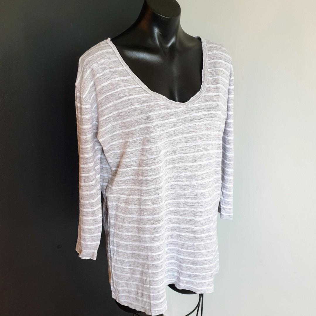 Women's size M 'SEED HERITAGE' Gorgeous grey white striped long sleeve linen top