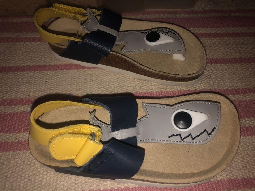 "Zara size 7-8 us leather ""shark"" sandals (barely worn)"