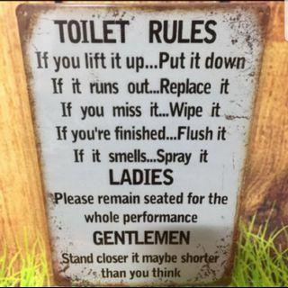 Metal plate tin sign- toilet rules rustic