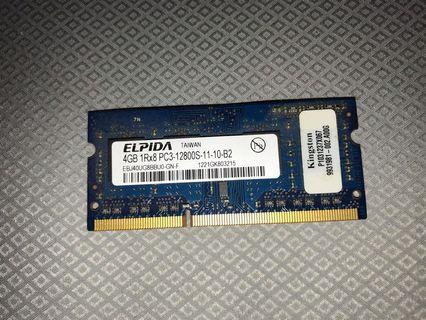 Laptop RAM / Memory ELPIDA 4GB 1Rx8 PC3- 12800s-11-10-b2 DDR3