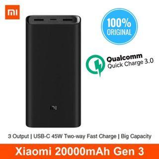 ★NEW★ Xiaomi 20000mah Gen 3 Powerbank Travel Fast Charging